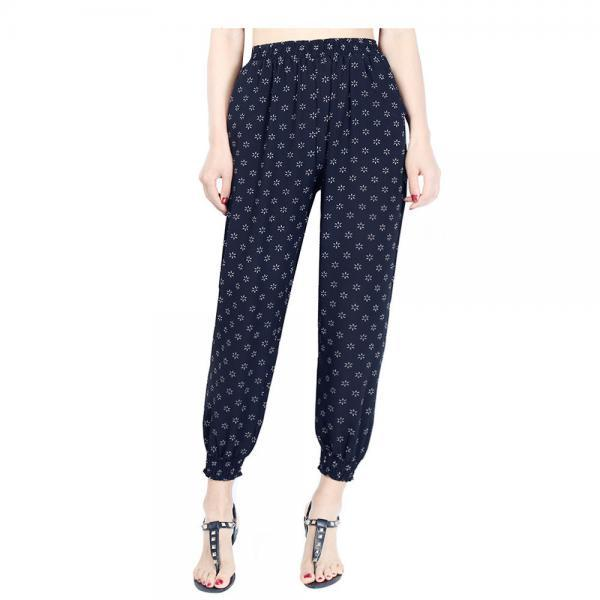 Women Harem Pants Summer Beach Chiffon High Waist Floral Print Casual Loose Long Trousers11#