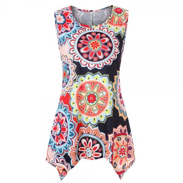 Women Asymmetrical T Shirt Summer Causal Floral Printed Loose Short Sleeve Tees Tank Tops 14#