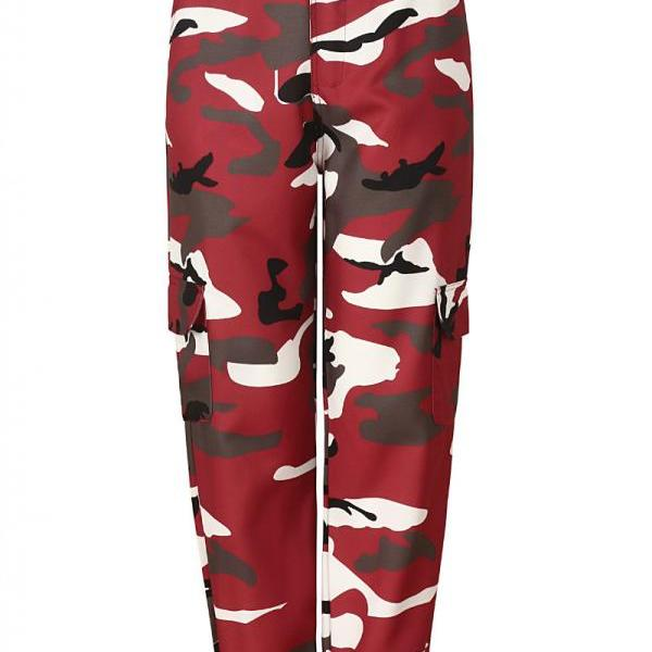 Women Camouflage Harem Pants Casual Loose Jogger Camo Cargo Trousers Sweatpants purplish red