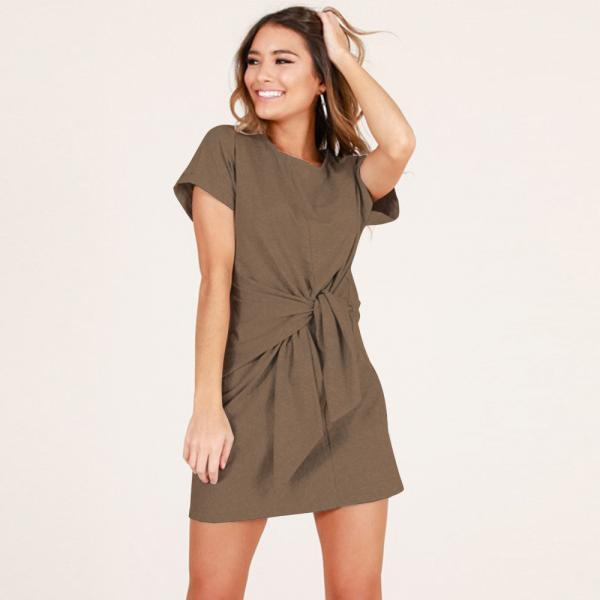 Summer Women Causal Dress Tie Waist Short Sleeve Mini Club Party Dress khaki