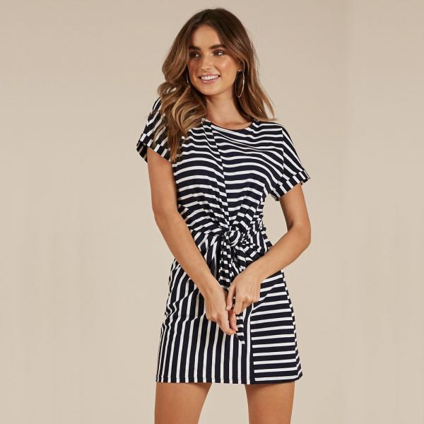 Summer Women Causal Dress Tie Waist Short Sleeve Mini Club Party Dress striped
