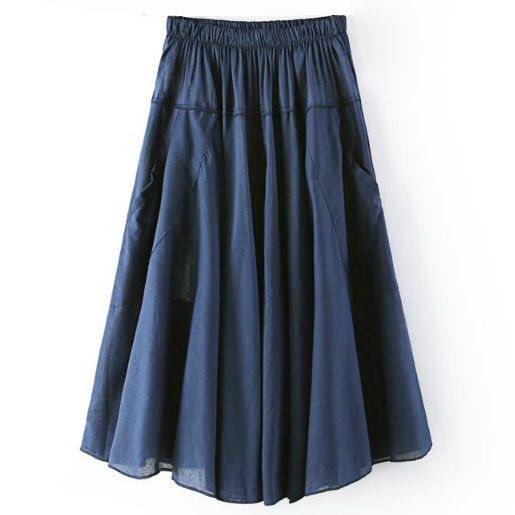 Women A Line Midi Skirt Elastic High Waist Summer Casual Pockets Pleated Skirt dark blue