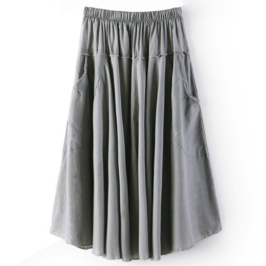Women A Line Midi Skirt Elastic High Waist Summer Casual Pockets Pleated Skirt gray