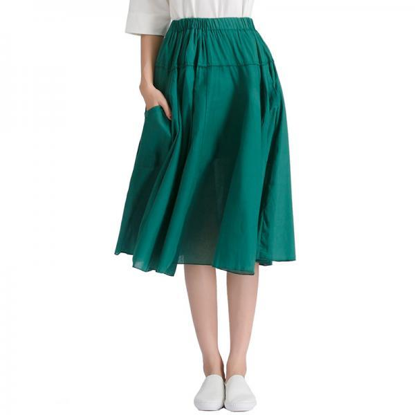 Women A Line Midi Skirt Elastic High Waist Summer Casual Pockets Pleated Skirt green