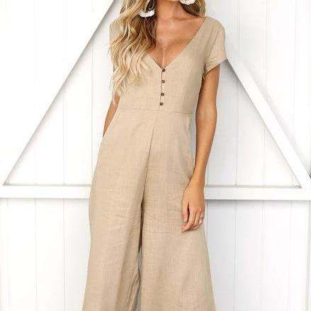 Women Wide Leg Jumpsuit Button Casual Loose V Neck Short Sleeve Summer Rompers Playsuit khaki
