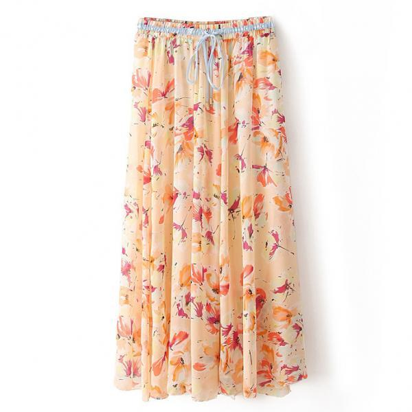 Boho Floral Print Maxi Skirt Summer Beach Women High Waist Casual Long Bohemian Skirt 11#