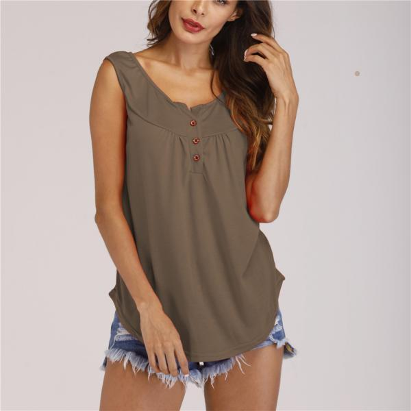 Women Tank Tops Button Solid Summer Cusual Loose Plus Size Sleeveless T-Shirt khaki