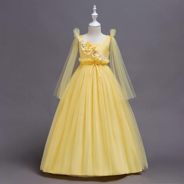 Princess Long Flower Girl Dress Teens Wedding Birthday Ceremony Party Gowns Children Clothes yellow