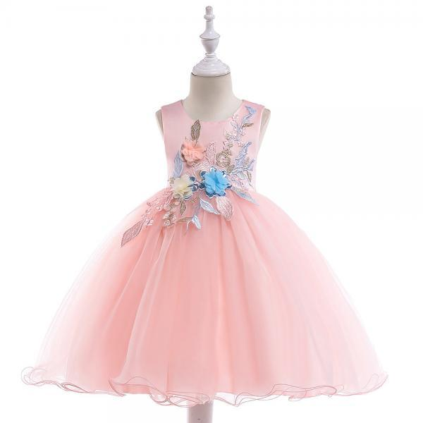Embroidery Flower Girl Dress Formal Birthday Party Tutu Gown Kids Children Clothes pink