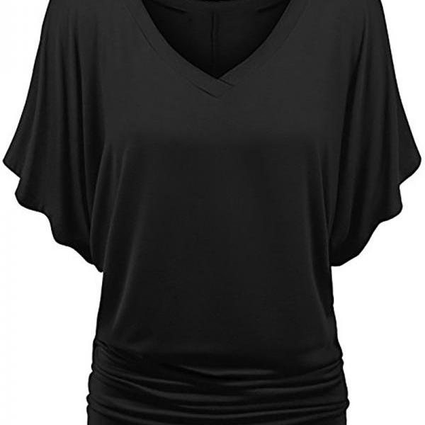Women T Shirt V Neck Batwing Half Sleeve Oversized Summer Casual Loose Plus Size Tops black