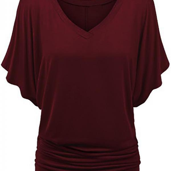 Women T Shirt V Neck Batwing Half Sleeve Oversized Summer Casual Loose Plus Size Tops burgundy