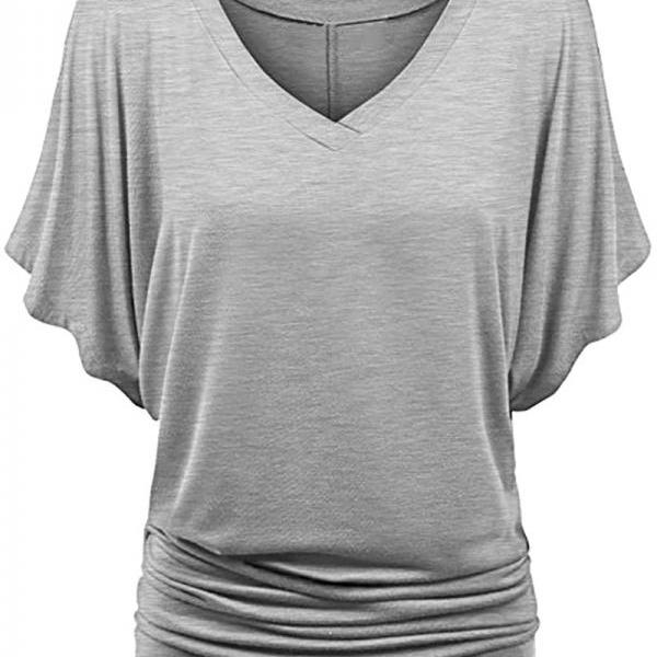 Women T Shirt V Neck Batwing Half Sleeve Oversized Summer Casual Loose Plus Size Tops gray