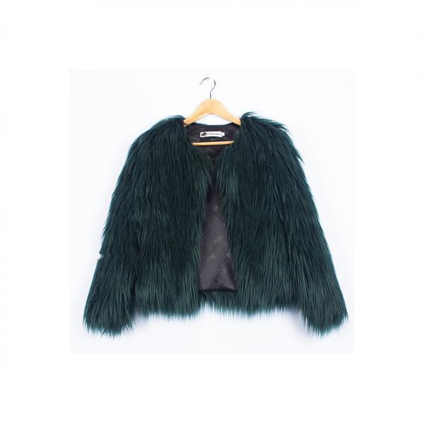 Plus Size 4XL Women Fluffy Faux Fur Coats Long Sleeve Winter Warm Jackets Female Outerwear hunter green