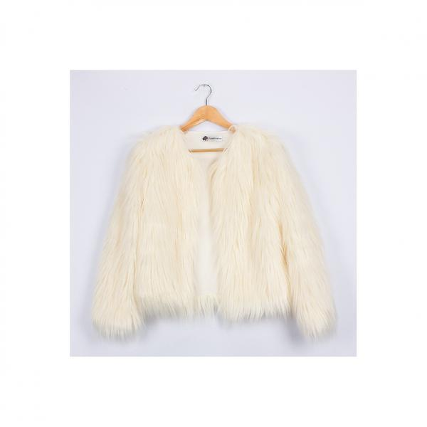 Plus Size 4XL Women Fluffy Faux Fur Coats Long Sleeve Winter Warm Jackets Female Outerwear ivory