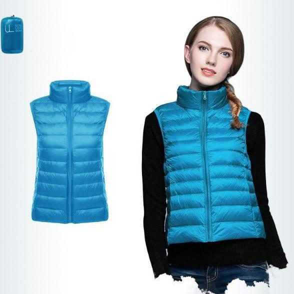 Women Sleeveless Waistcoat Winter Ultra Light Duck Down Vest Female Slim Jacket Packable Warm Coat blue