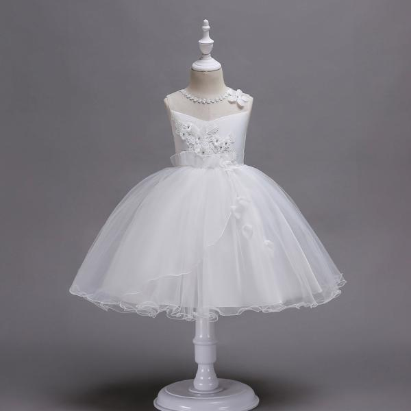Princess Flower Girls Dress Sleeveless Lace Wedding Birthday Party Tutu Gowns Children Clothes off white