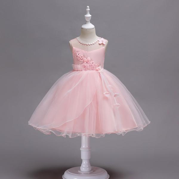 Princess Flower Girls Dress Sleeveless Lace Wedding Birthday Party Tutu Gowns Children Clothes pink