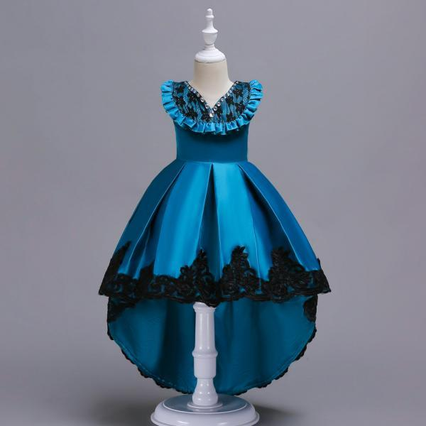 High Low Flower Girl Dress Sleeveless Lace Formal Birthday Party Gown Kids Children Clothes blue