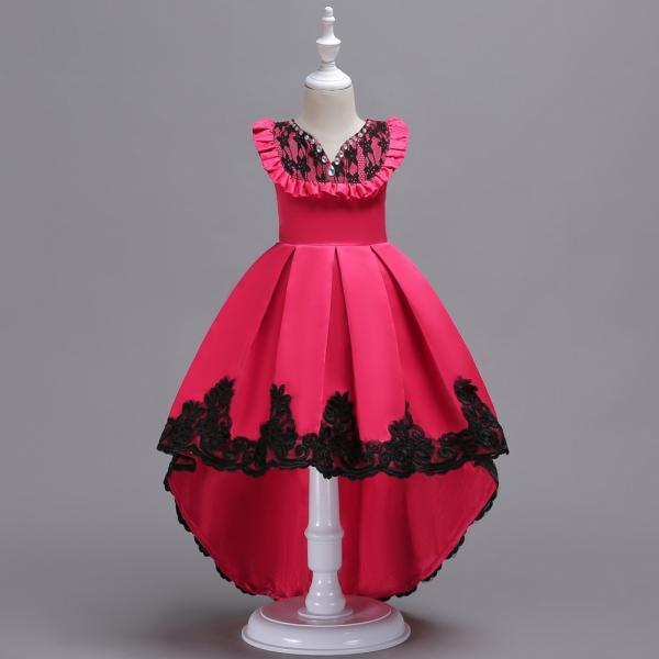 High Low Flower Girl Dress Sleeveless Lace Formal Birthday Party Gown Kids Children Clothes hot pink