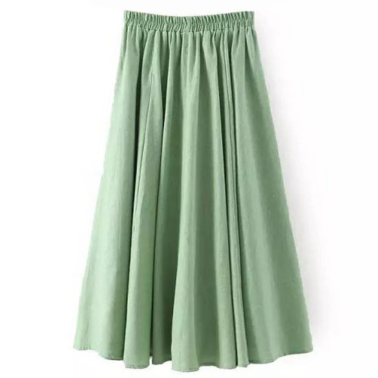 Women Midi Skirt Elastic High Waist Summer Below Knee Casual A Line Skater Skirt green as pic
