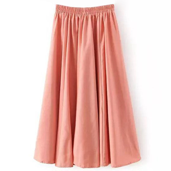 Women Midi Skirt Elastic High Waist Summer Below Knee Casual A Line Skater Skirt pink as pic