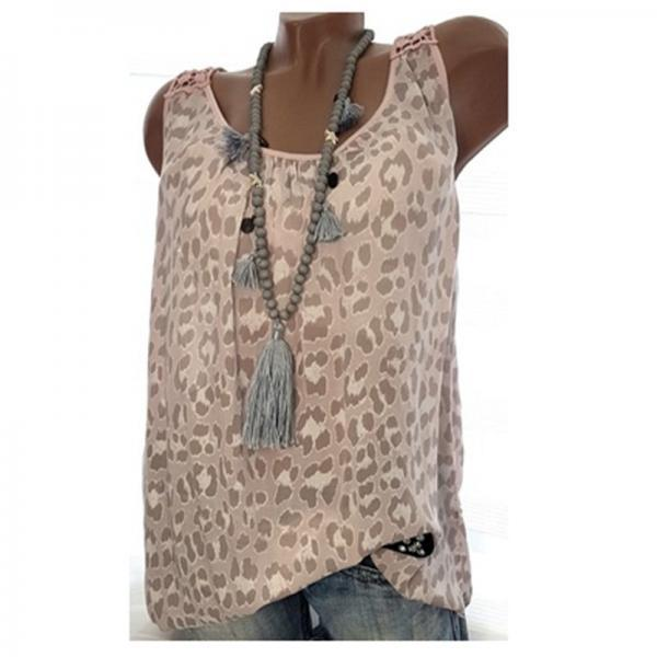Women Leopard Tank Tops Summer Loose Plus Size Casual Sleeveless Vintage T-shirt khaki