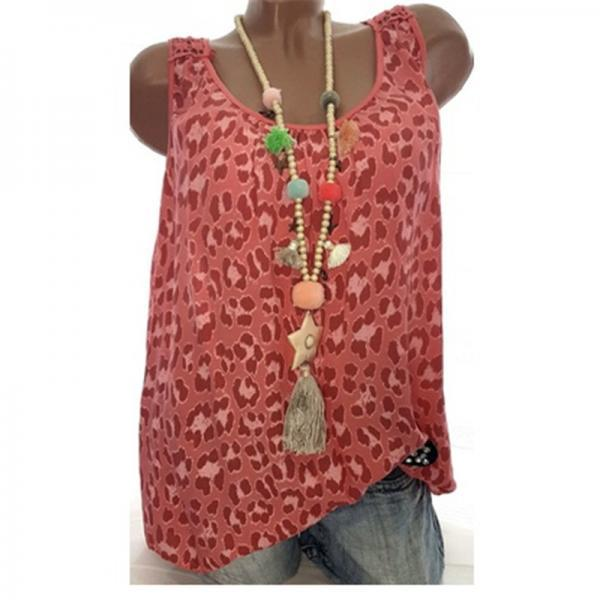Women Leopard Tank Tops Summer Loose Plus Size Casual Sleeveless Vintage T-shirt red