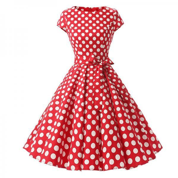 Vintage Polka Dot Dress Women Summer Short Sleeve Belted Rockabilly Casual Party Dress red (big dot)