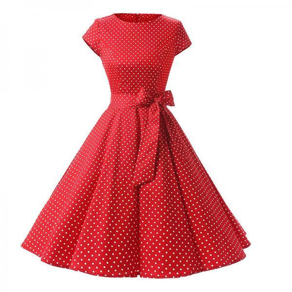 Vintage Polka Dot Dress Women Summer Short Sleeve Belted Rockabilly Casual Party Dress red (small dot)