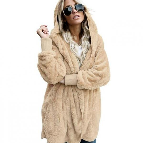 Women Faux Fur Coat Winter Long Sleeve Hooded Warm Fluffy Cardigan Jacket Overcoat apricot