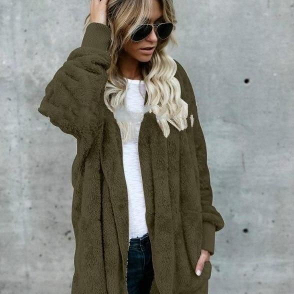 Women Faux Fur Coat Winter Long Sleeve Hooded Warm Fluffy Cardigan Jacket Overcoat army green