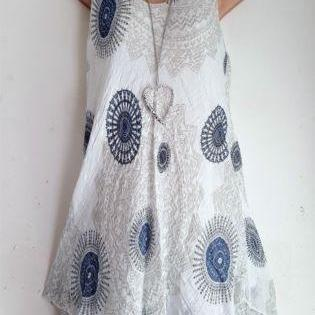 Women Floral Printed Mini Dress Summer Sleeveless Plus Size A Line Boho Beach Sundress off white