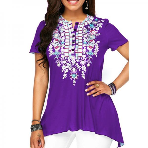 Women Floral Printed T Shirt Button Short Sleeve Summer Casual Plus Size Loose Tee Tops purple