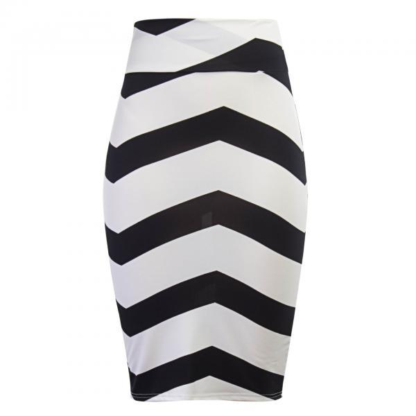 Women Striped Pencil Skirt Slim High Waist Knee-Length OL Work Office Bodycon Skirt 1#