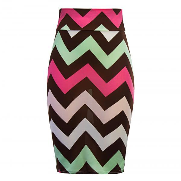 Women Striped Pencil Skirt Slim High Waist Knee-Length OL Work Office Bodycon Skirt 4#