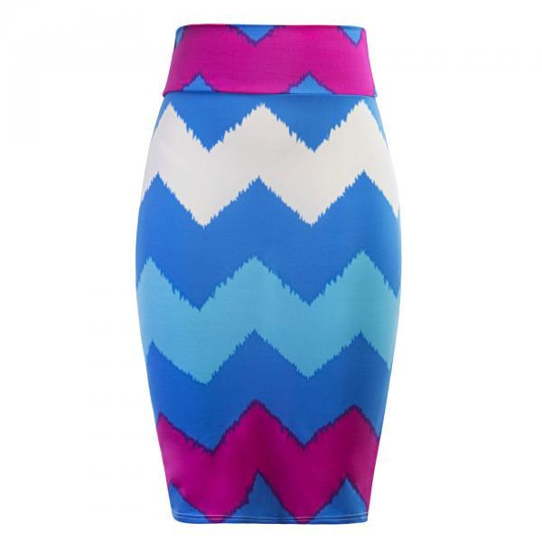 Women Striped Pencil Skirt Slim High Waist Knee-Length OL Work Office Bodycon Skirt 5#