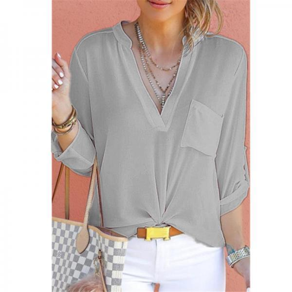 Women Chiffon Blouse V Neck Long Sleeve Pockets OL Plus Size Casual Loose Tops Shirt gray