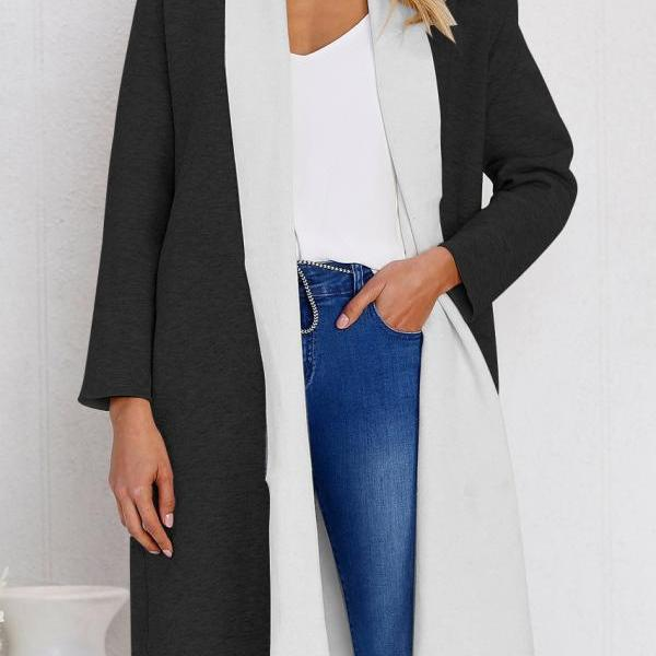 Women Woolen Trench Coat Autumn Warm Patchwork Casual Long Sleeve Cardigan Jacket black+white