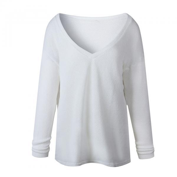 Women Knitted Sweater Spring Autumn V Neck Long Sleeve Casual Loose Top Pullover off white