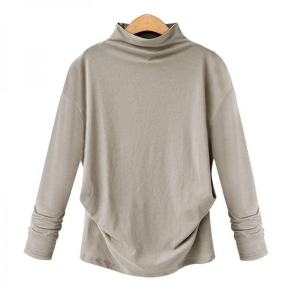 Spring Autumn Women Tops Half High Neck Long Sleeve Solid Casual Loose Pullover apricot