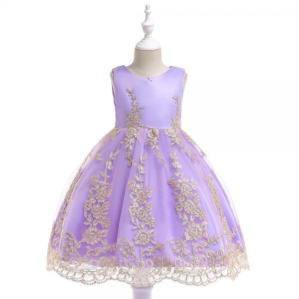 Embroidery Lace Flower Girl Dress Princess Sleeveless Formal Birthday Party Tutu Gown Children Clothes lilac