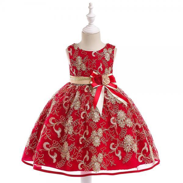 Embroidery Fower Girl Dress Princess Sleeveless Lace Birthday Communion Party Tutu Gown Children Clothes crimson