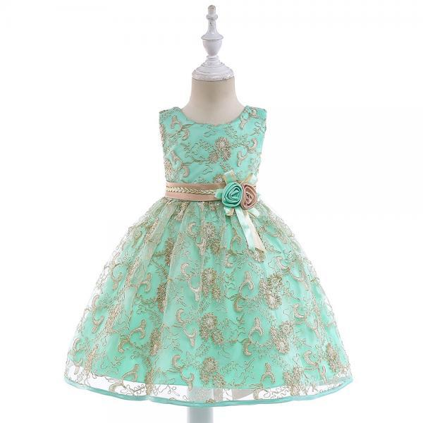 Embroidery Fower Girl Dress Princess Sleeveless Lace Birthday Communion Party Tutu Gown Children Clothes mint
