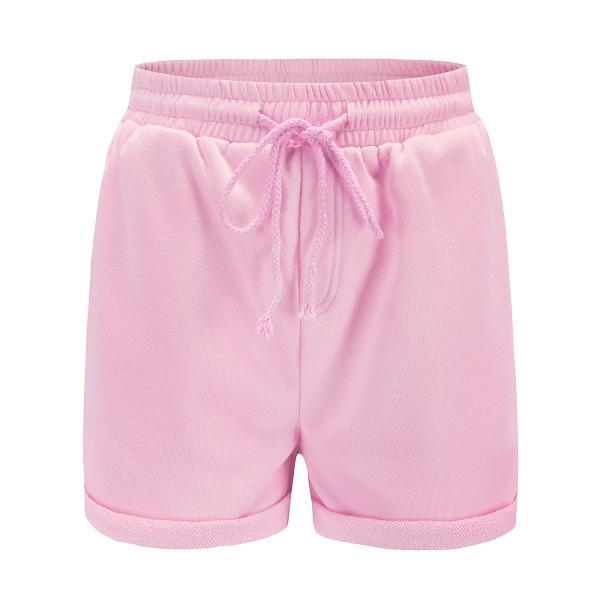 Women Sports Yoga Shorts Workout Fitness Drawstring Waist Running Summer Casual Loose Athletic Shorts pink