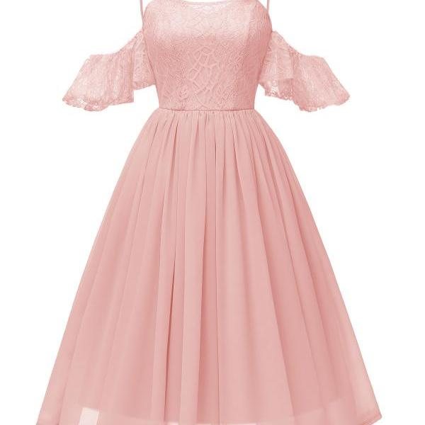 Women Casual Dress Spaghetti Strap Off Shoulder Ruffles Sleeve Lace A Line Formal Party Dress pink