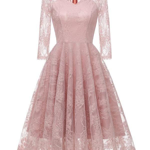 Vintage Floral Lace Dress Autumn 3/4 Sleeve Slim A Line Casual Work Office Party Dress pink