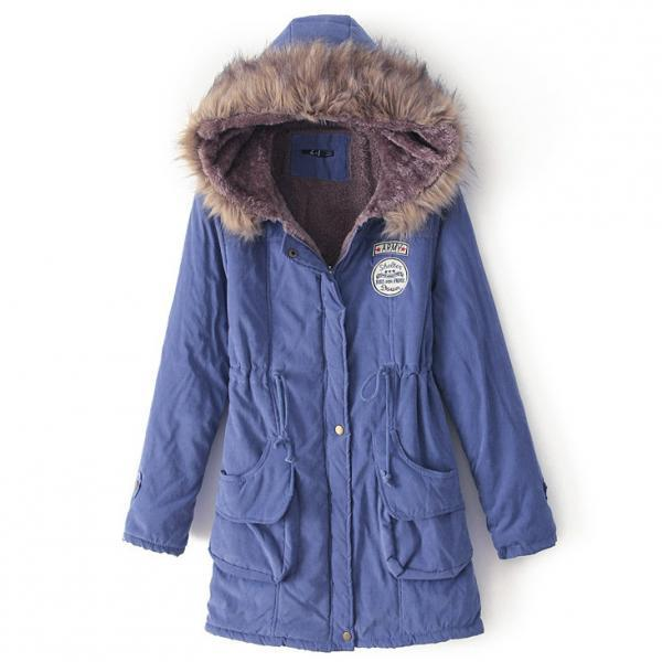 Winter Women Cotton Coat Parka Casual Military Hooded Thicken Warm Long Slim Female Jacket Outwear blue