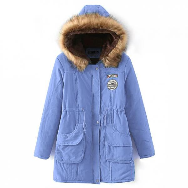 Winter Women Cotton Coat Parka Casual Military Hooded Thicken Warm Long Slim Female Jacket Outwear light blue