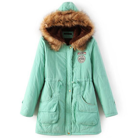Winter Women Cotton Coat Parka Casual Military Hooded Thicken Warm Long Slim Female Jacket Outwear light green