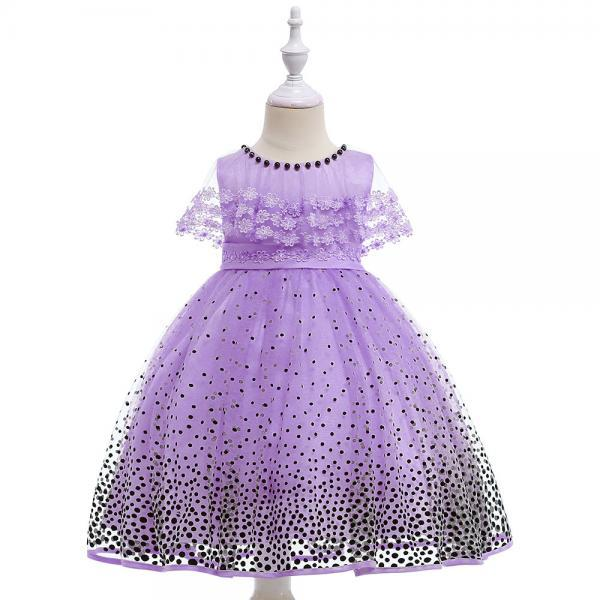 Princess Flower Girls Dress Lace Cape Polka Dot Formal Birthday Party Gown Children Clothes lilac